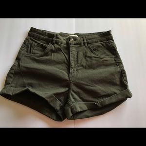 Olive green high waisted shorts